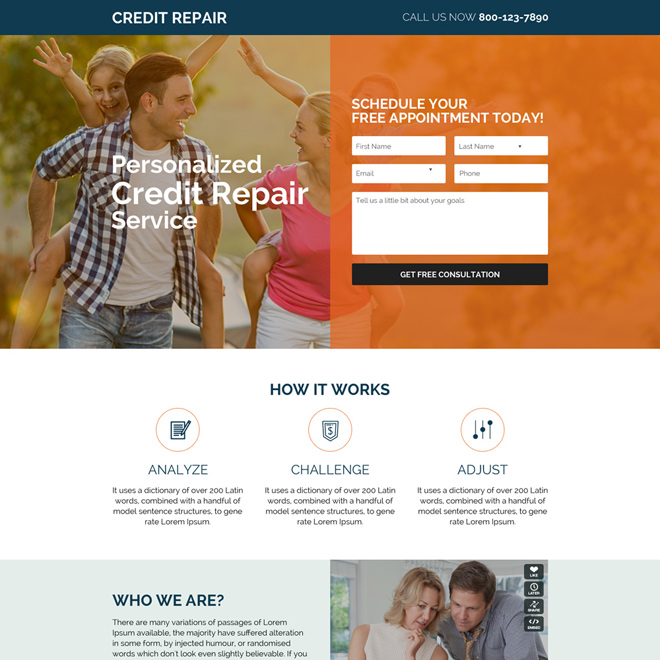 Personalized credit repair free appointment booking landing page
