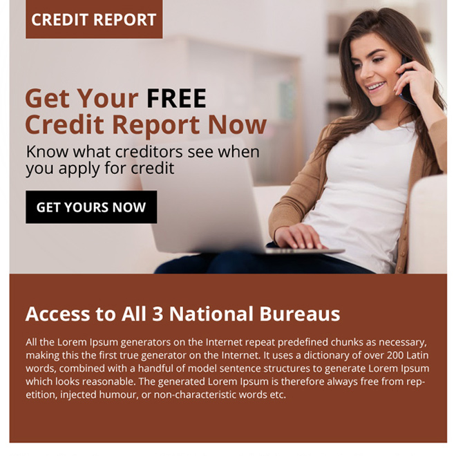 free credit report call to action ppv landing page design Credit Report example