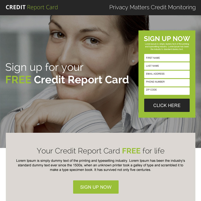 free credit report card sign up responsive landing page design Credit Report example
