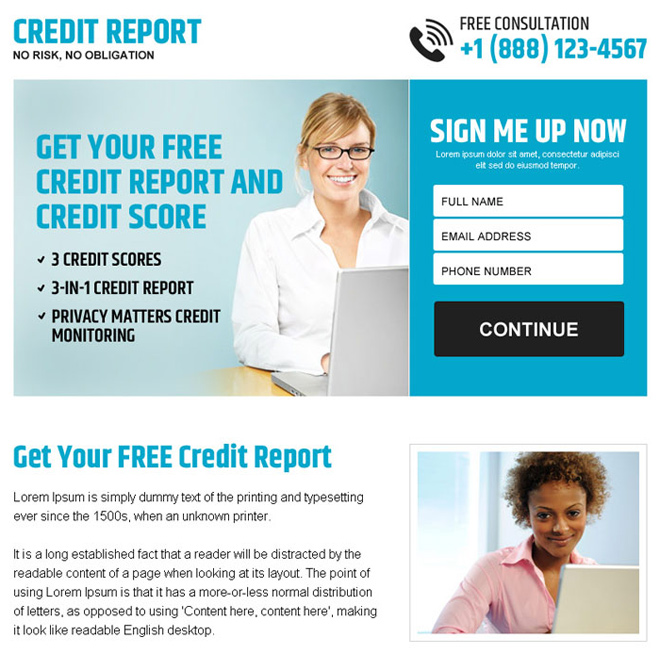 free credit report sign up lead capture ppv landing page Credit Report example