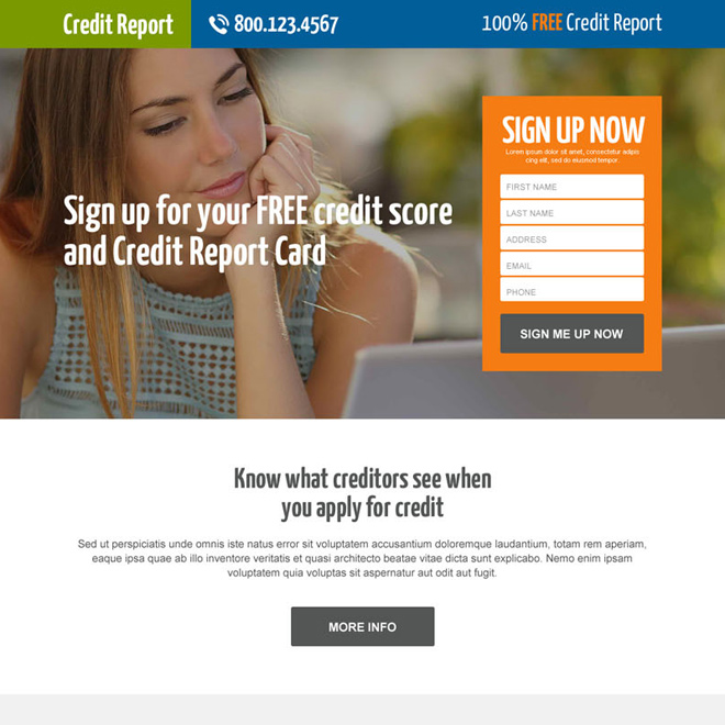 free credit score sign up lead generating responsive landing page Credit Report example
