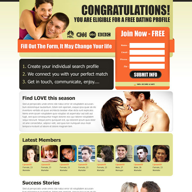 effective and converting dating landing page design to increase sign up leads Dating example