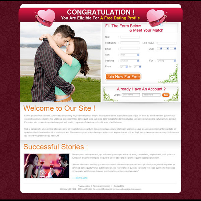 free dating simple lead capture landing page design for sale Landing Page Design example