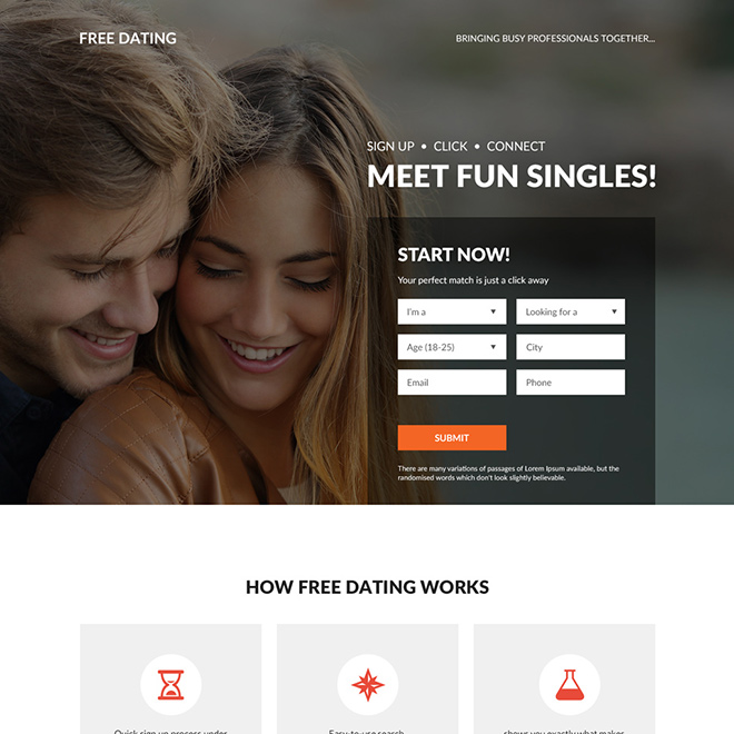 free dating sign up capturing bootstrap landing page design Dating example