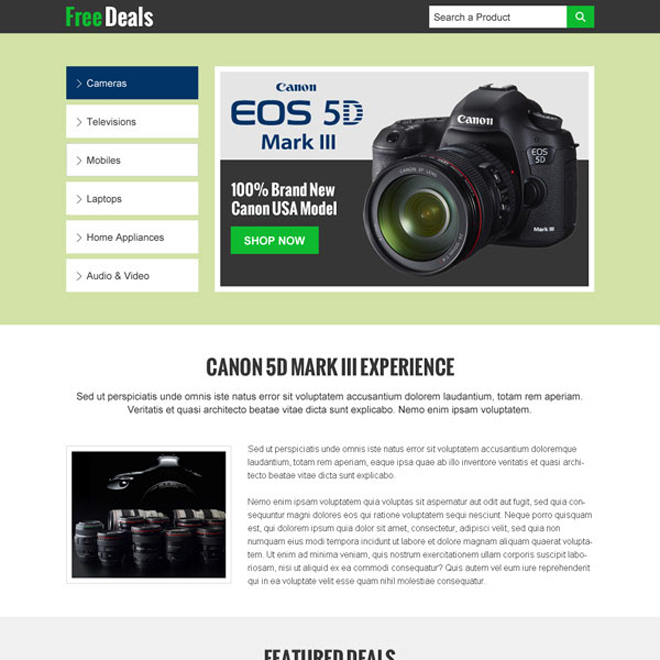 electronics product sales on free deals landing page design templates Electronics example