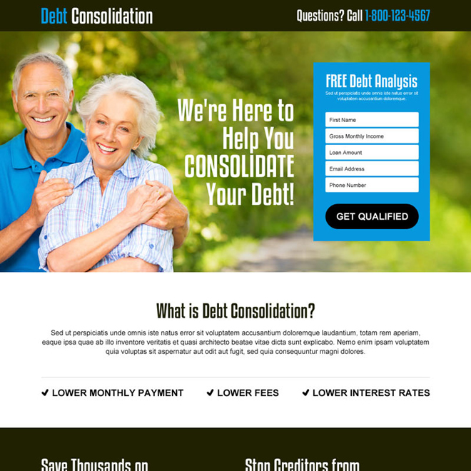 effective free debt analysis lead generating landing page design template Debt example