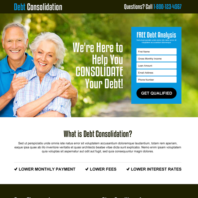 free debt analysis lead gen responsive landing page design template Debt example