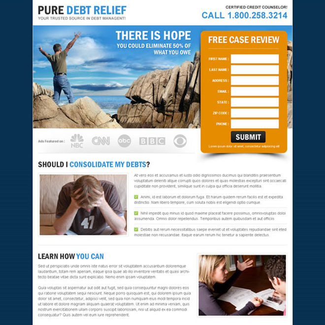 pure debt relief highly converting and appealing landing page design to maximize your revenue Debt example