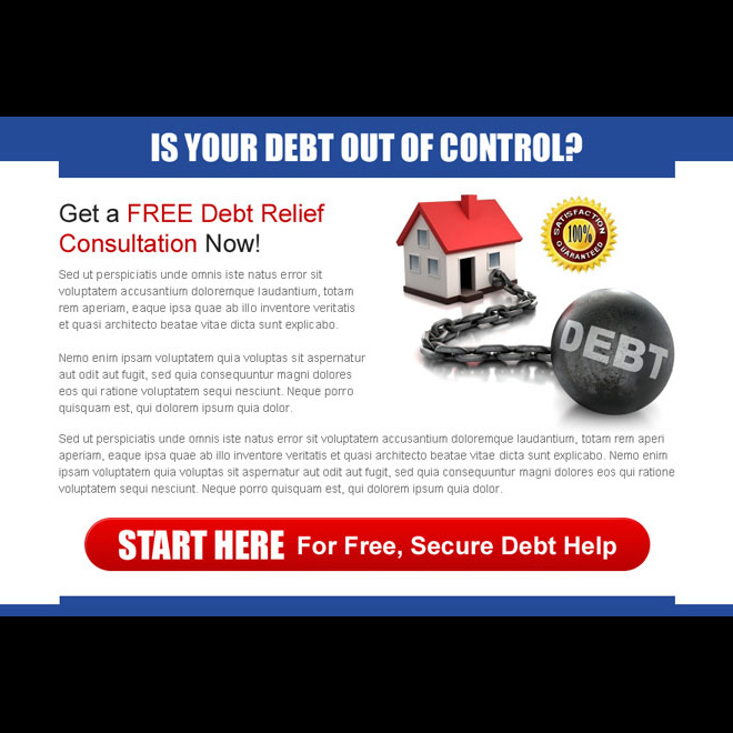 get a free debt relief consultation now appealing ppv landing page design Debt example