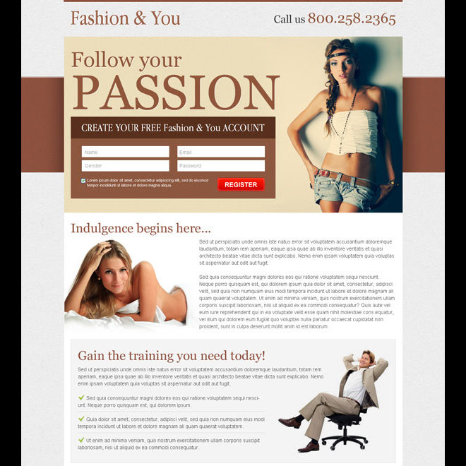 create your free fashion account sign up lead capture landing page design Fashion and Modeling example