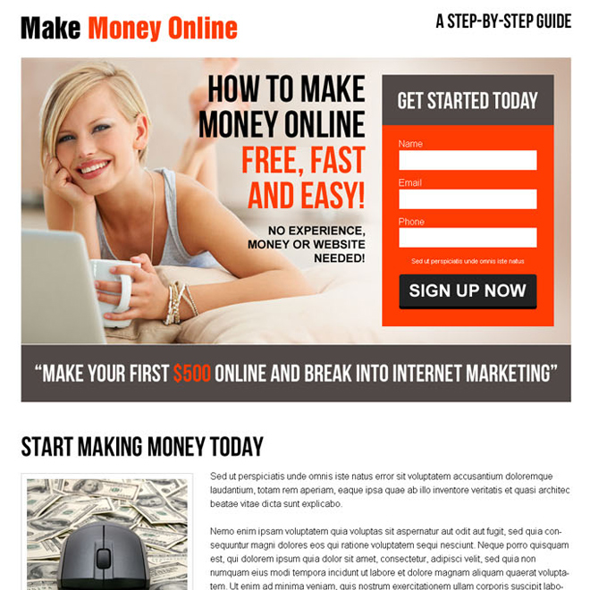converting lead capture responsive landing page design for make money online business Make Money Online example