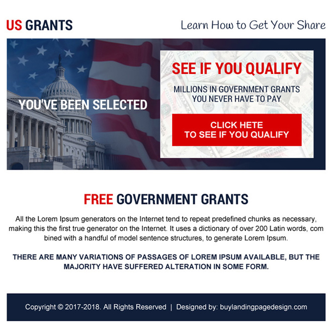 free government grants call to action ppv landing page Government Grants example