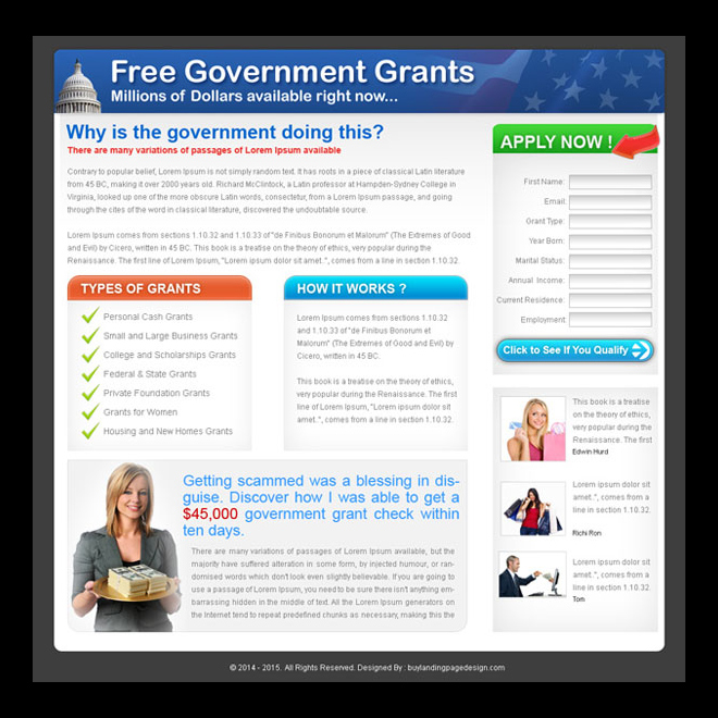 government grants for free landing page design template Landing Page Design example