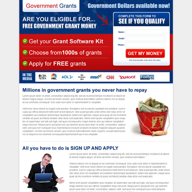 free government grant money small lead capture landing page template Government Grants example