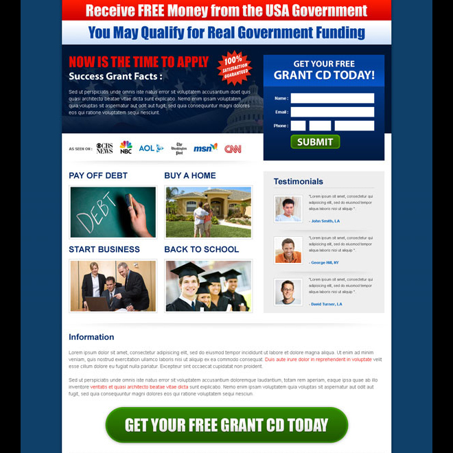 receive free money from the usa government squeeze page design Government Grants example