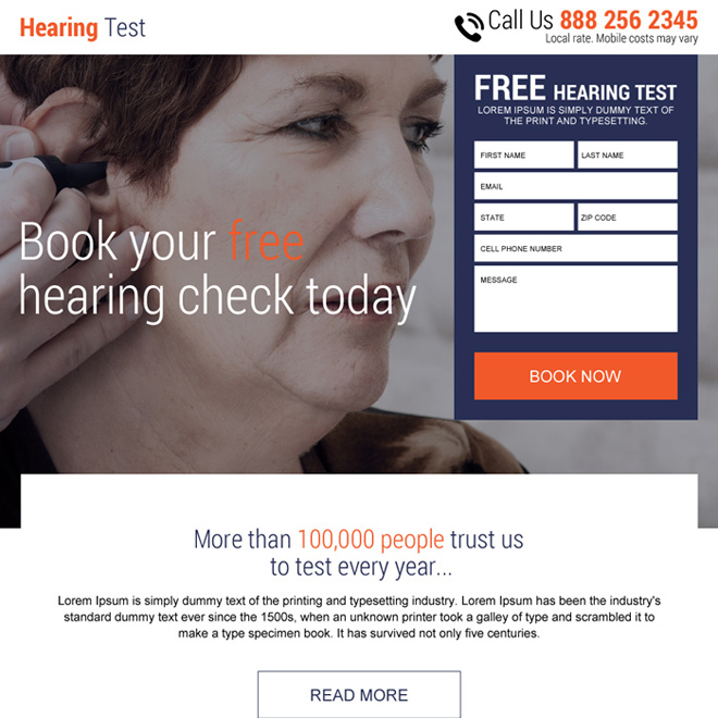 free hearing test online lead capturing modern landing page Hearing Solutions example