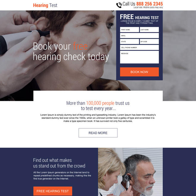 free hearing test online free quote responsive landing page Hearing Solutions example