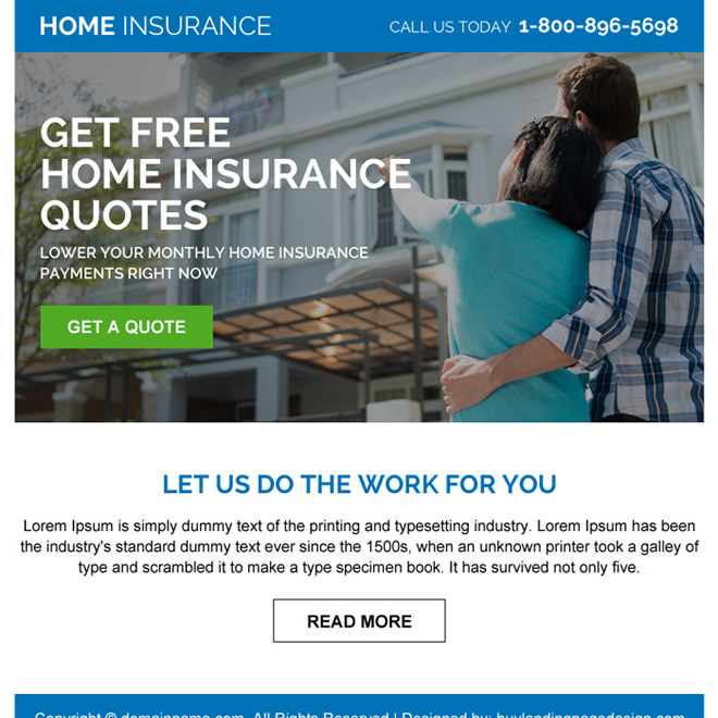 home insurance free quote call to action ppv design Home Insurance example