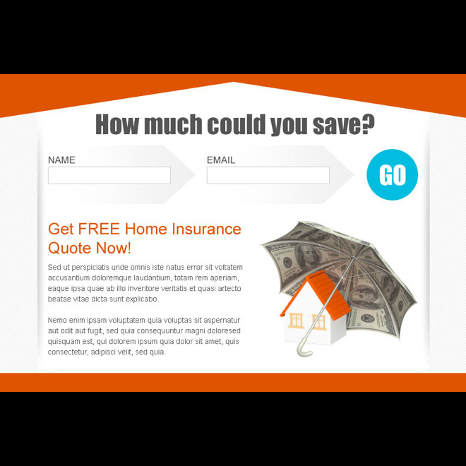 clean and converting lead capture home insurance ppv landing page design template Home Insurance example