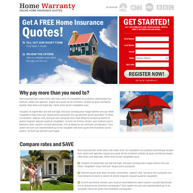 free home insurance quote lead capture most converting landing page design Home Insurance example