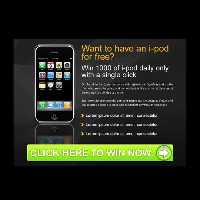 free i-pod call to action converting ppv landing page design template PPV Landing Page example