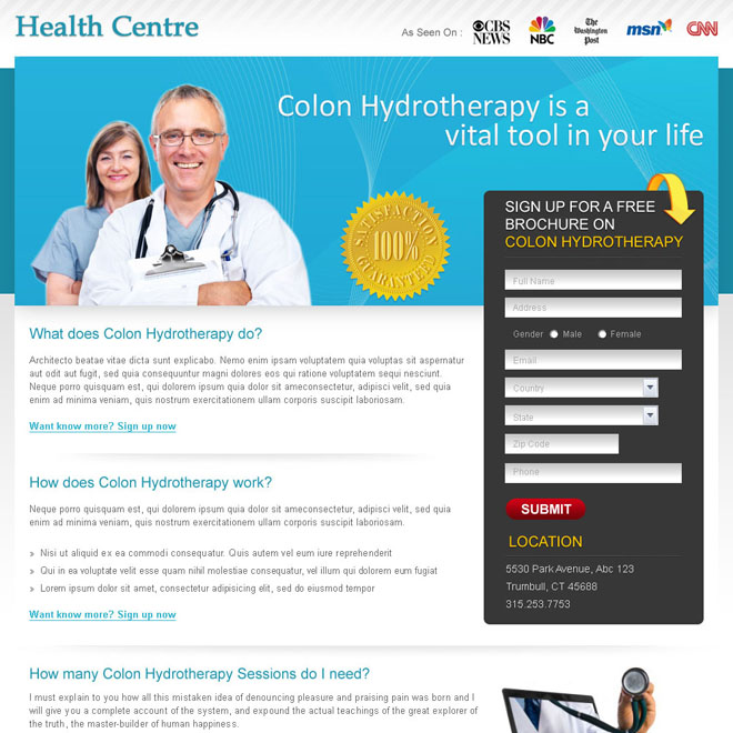 free medical brochure lead capture landing page design for sale Medical example