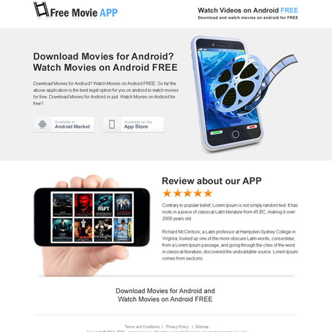movie download free app responsive landing page design templates Web Application example