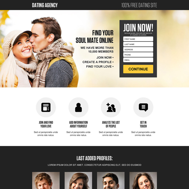 free online dating responsive landing page design Dating example