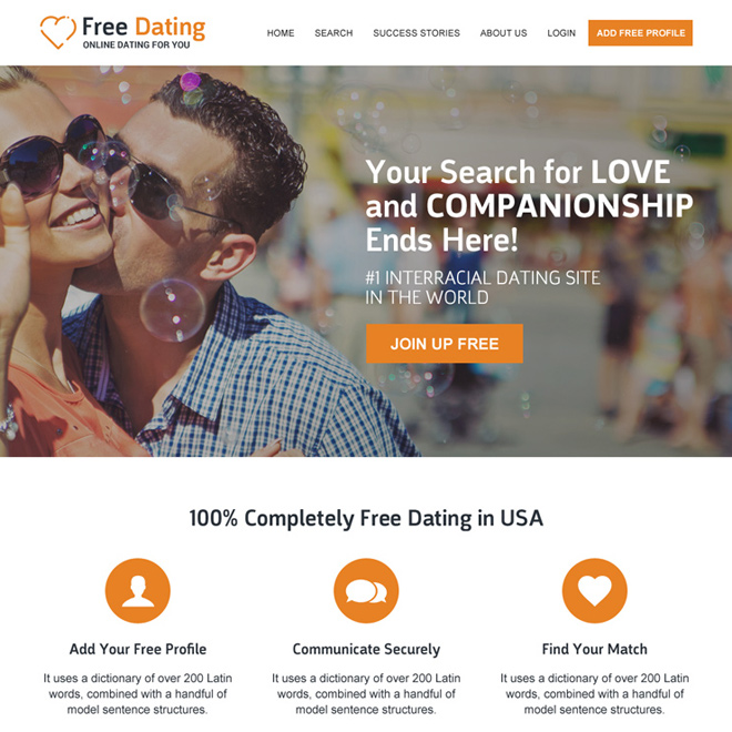 mobile friendly dating website template design Dating example