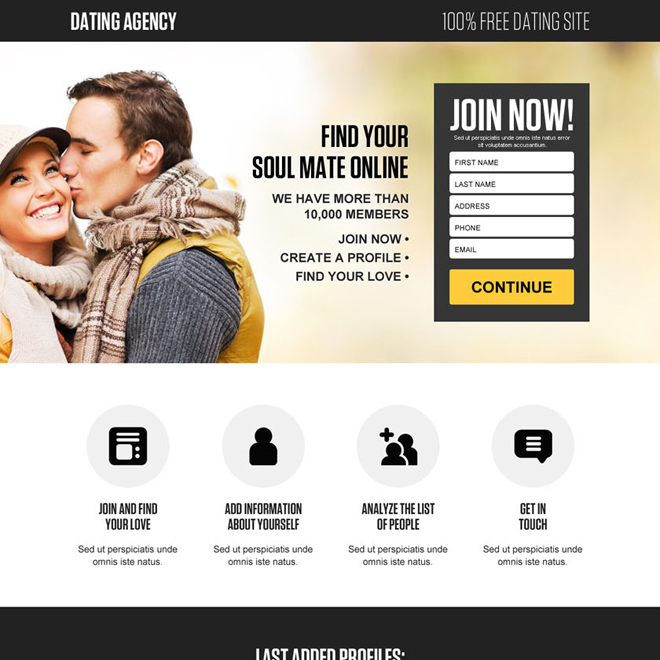 free dating site lead gen landing page design Dating example