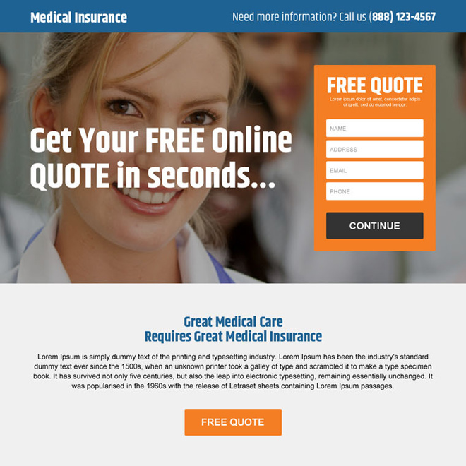 free online medical insurance quote premium landing page design Health Insurance example