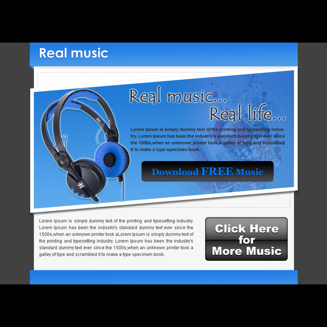 real music real life call to action converting ppv landing page design templates PPV Landing Page example