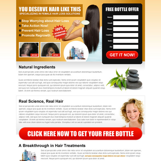 stop worrying about hair loss free trial lead capture landing page design Hair Loss example