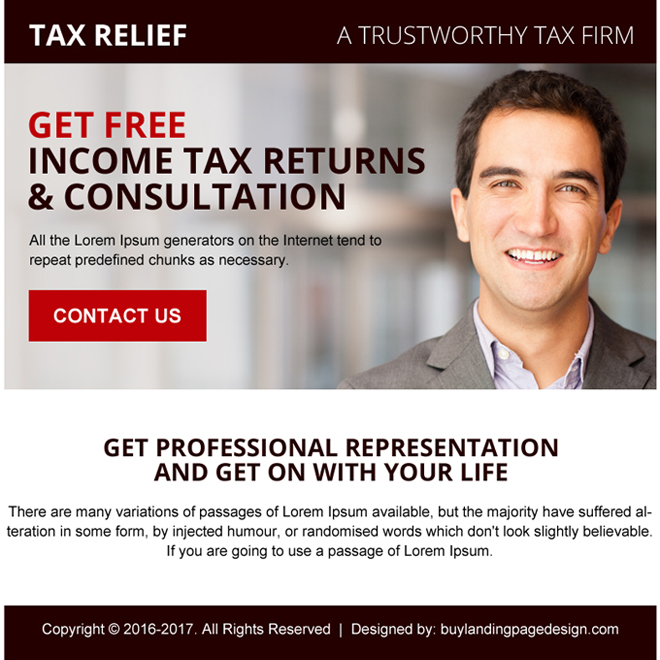 tax free consultation ppv landing page design Tax example