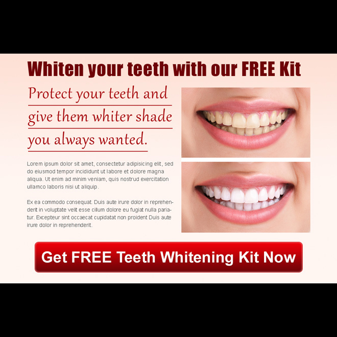protect your teeth and give them whiter shade you always wanted ppv landing page design Teeth Whitening example