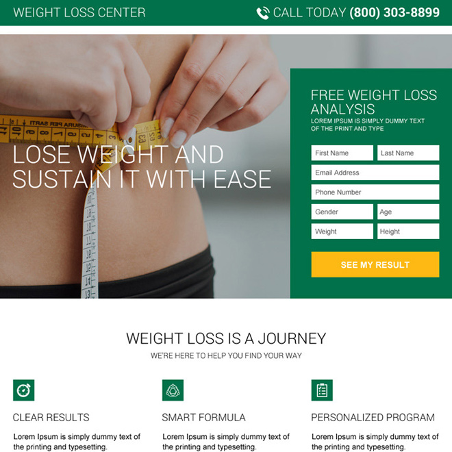 free weight loss analysis landing page design Weight Loss example