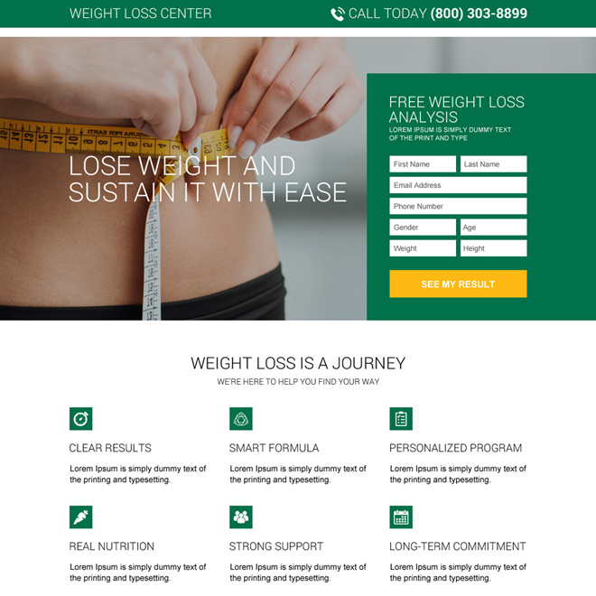 free weight loss analysis responsive landing page Weight Loss example