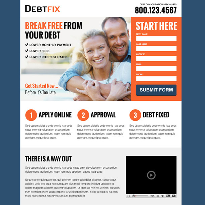 free yourself from debt business service lead capture landing page design templates to boost your debt business leads Debt example