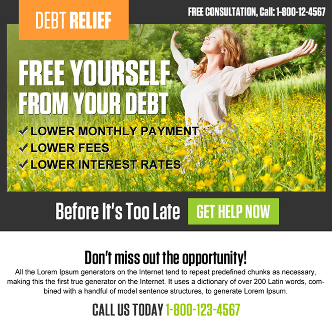 free yourself from debt ppv landing page design Debt example