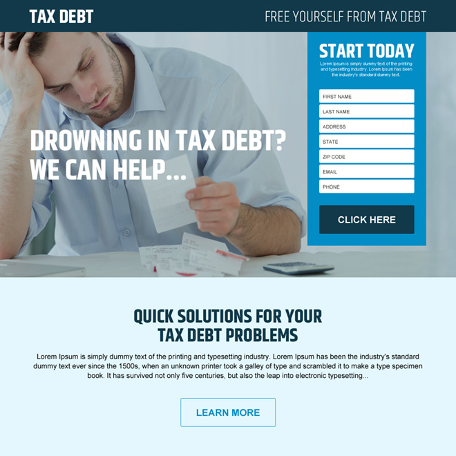 free yourself from tax debt lead generating landing page design Tax example