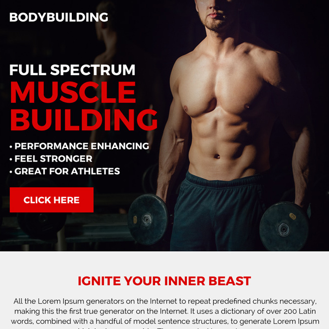 clean and professional muscle building ppv landing page design Bodybuilding example