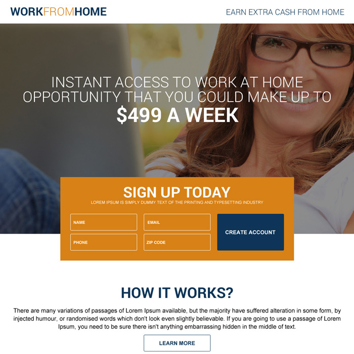 full time work from home job sign up generating landing page Work from Home example