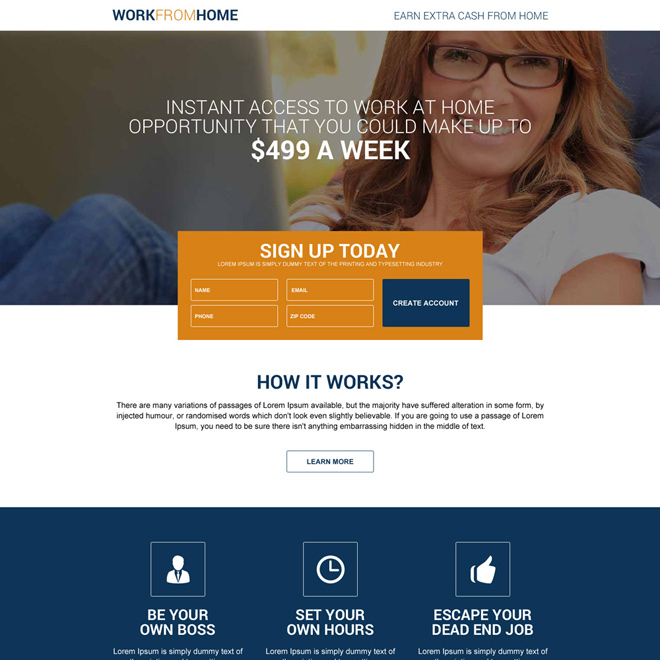 best work from home responsive lead generating landing page Work from Home example