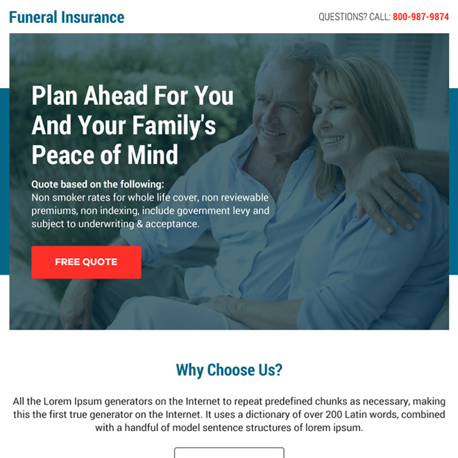 funeral insurance free quote call to action ppv landing page Burial Insurance example