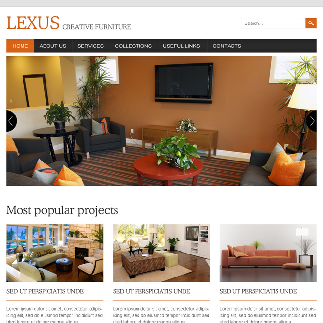 interior and furniture responsive website design template Home Improvement example