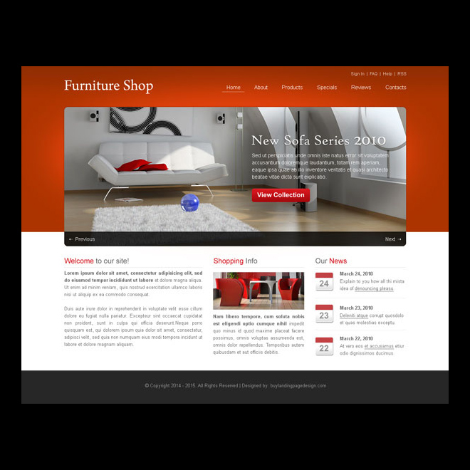 simple furniture shop website template design psd website template psd example