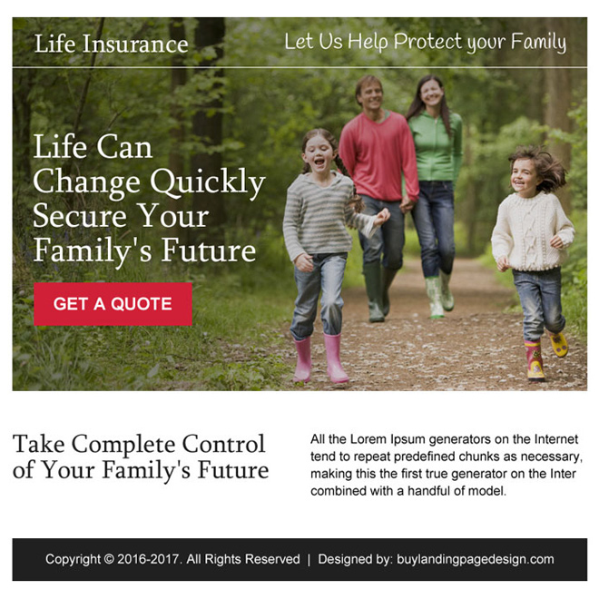secure your family future ppv landing page design Life Insurance example