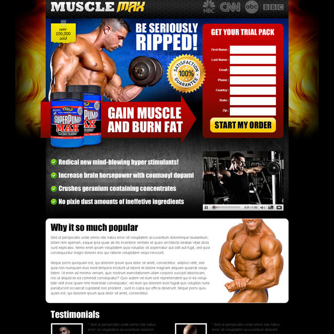 be seriously ripped and burn fat faster with our body building product effective and converting landing page design Bodybuilding example