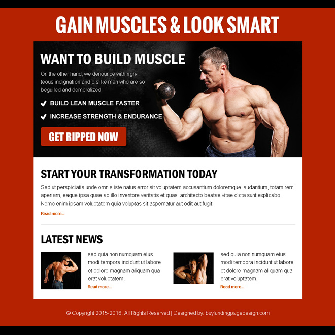 gain muscles look smart call to action ppv landing page design Bodybuilding example