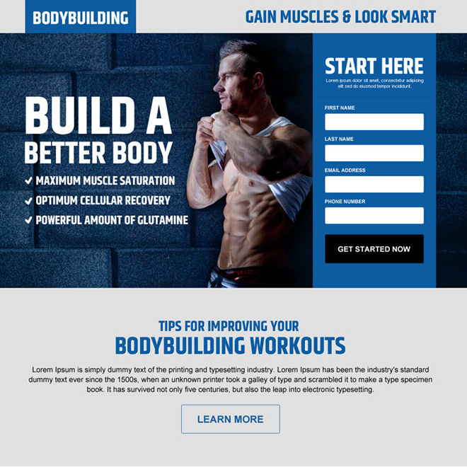 gain muscles look smart lead gen landing page design Bodybuilding example